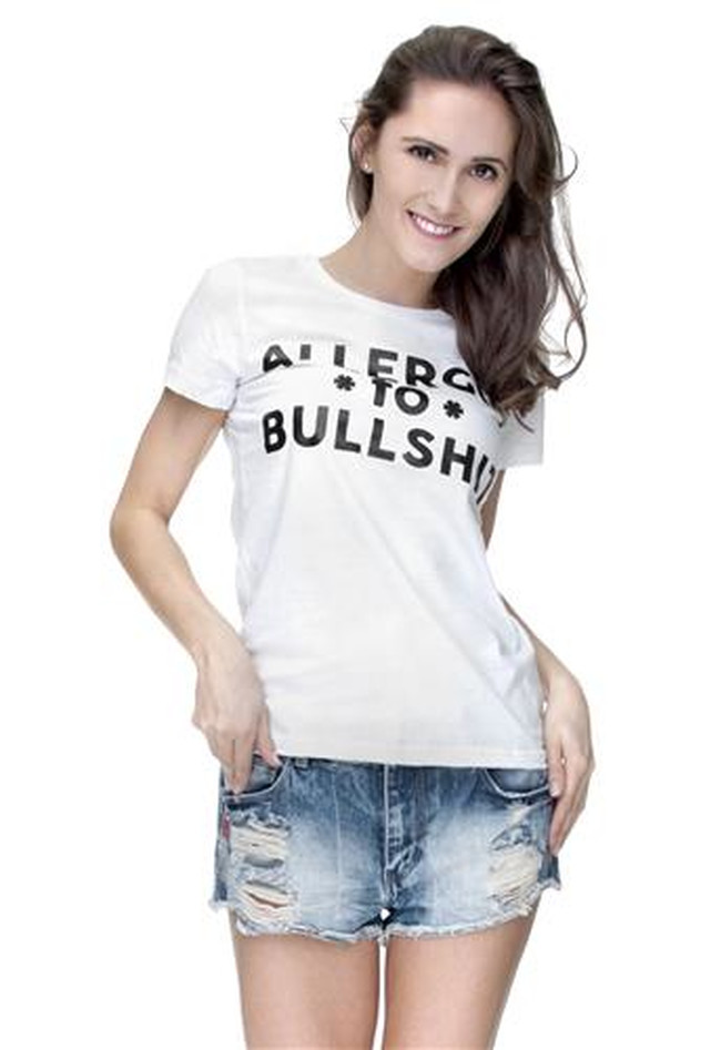 T-Shirt Ladies Round Allergic to Bullshit